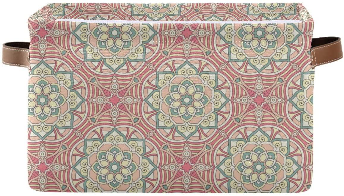 senya Large Foldable Storage Bin, Bohemian Floral Fabric Storage Basket Organizer Bag with Handles 15 x 11 x 9.5 inch
