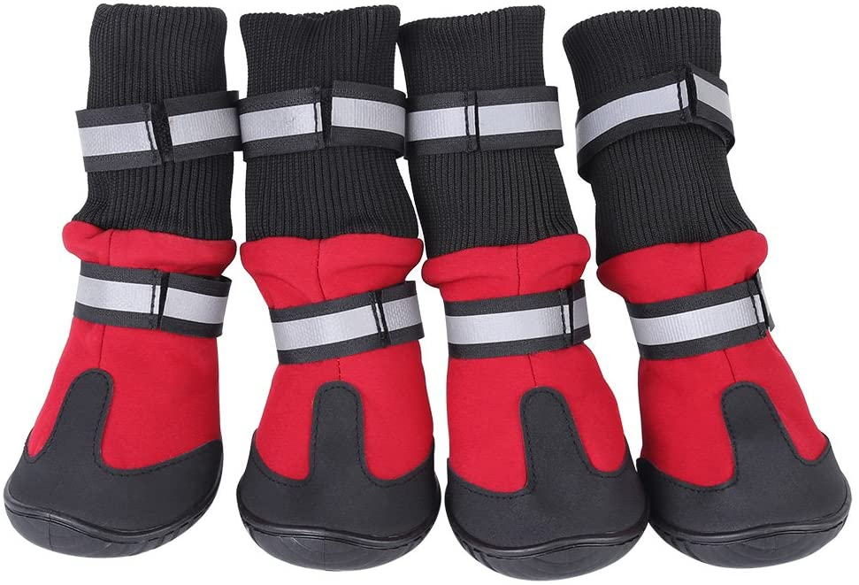 Zerodis 4 Pcs Dog Boots Black Anti-Slip Protective Pet Dog Shoes Waterproof Warm Protective Boots for Medium and Large Dogs