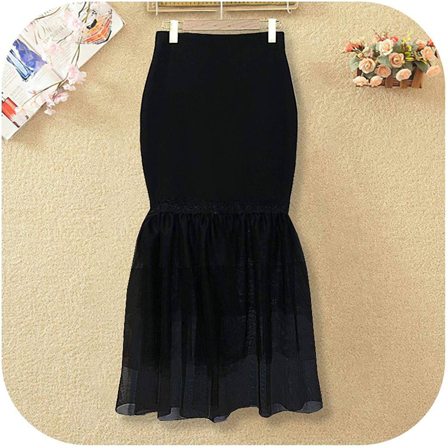 Lady Summer Bodycon Skirt Elastic Tight Patchwork Tulle Layer Maxi Floor Length Skirts