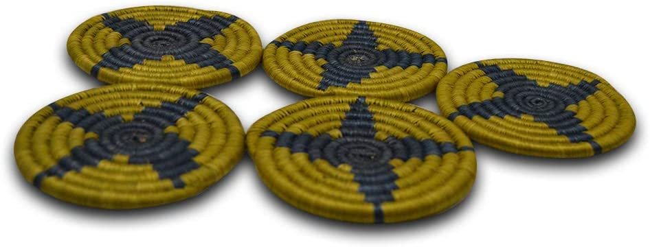 African Gift Shop Handmade Rwanda Mats MaAfrican Gift Shop of Sweet Grass | Heat Resistant Round Woven Tea Mats in Contrasting Blue & Gold Color