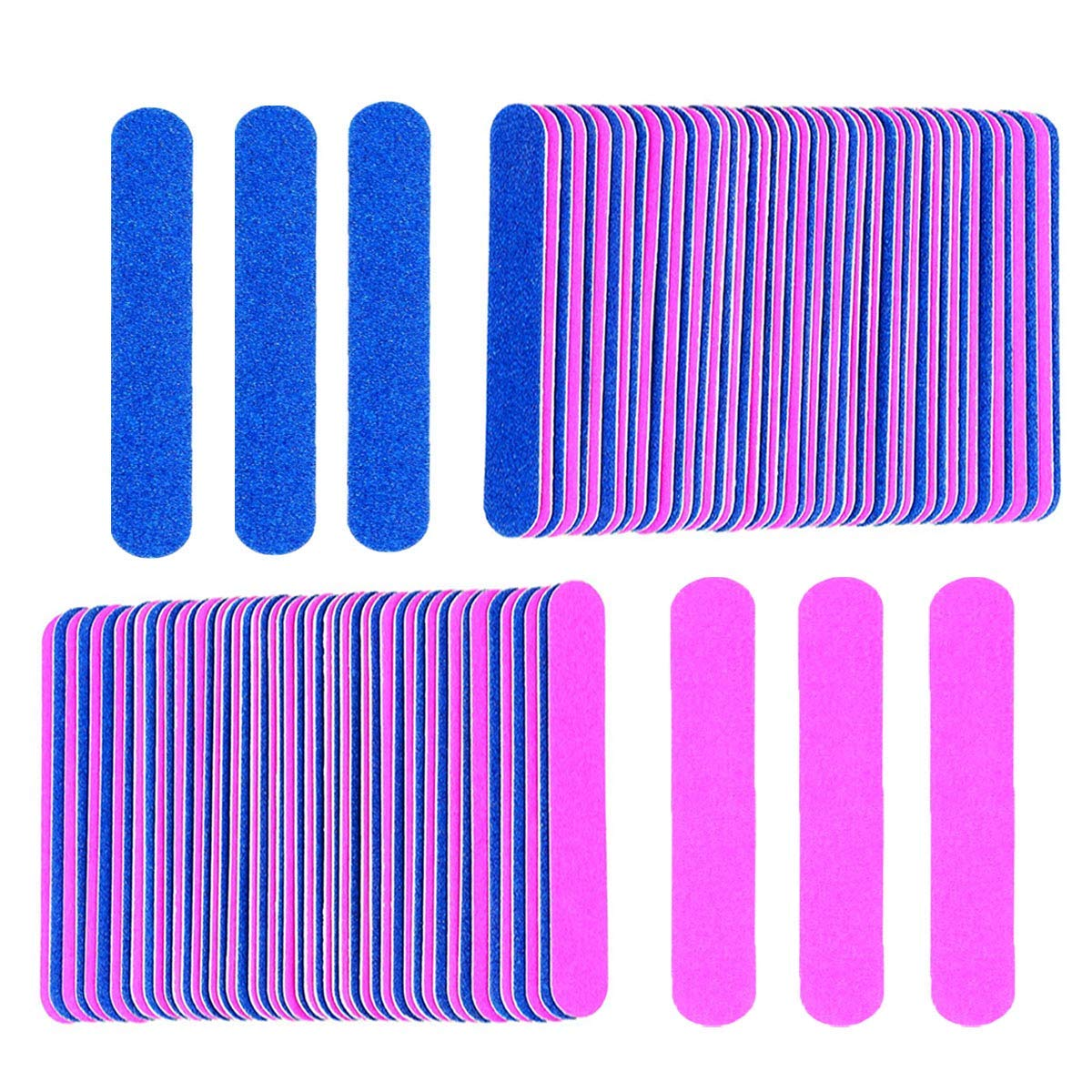 Professional Mini Nail Files Bulk, 50 Pcs Disposable Double Sided Emery Boards Travel Size for Men, Women, Kids (50 Pcs, Blue and Pink)