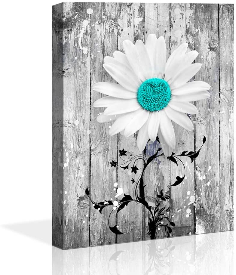 wall decor blue Gray Daisy Flowers abstract Wall Art Decorative 16x24 Modern Floral Canvas Artwork Daisy Flower Vase Picture Giclee Print on Canvas Picture Paintings Wall Decor for Bathroom