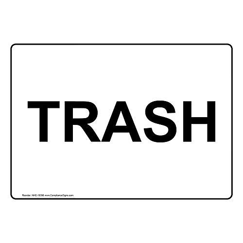 Trash Label Decal, 7x5 in. Vinyl for Recycling/Trash/Conserve, Made in USA by ComplianceSigns
