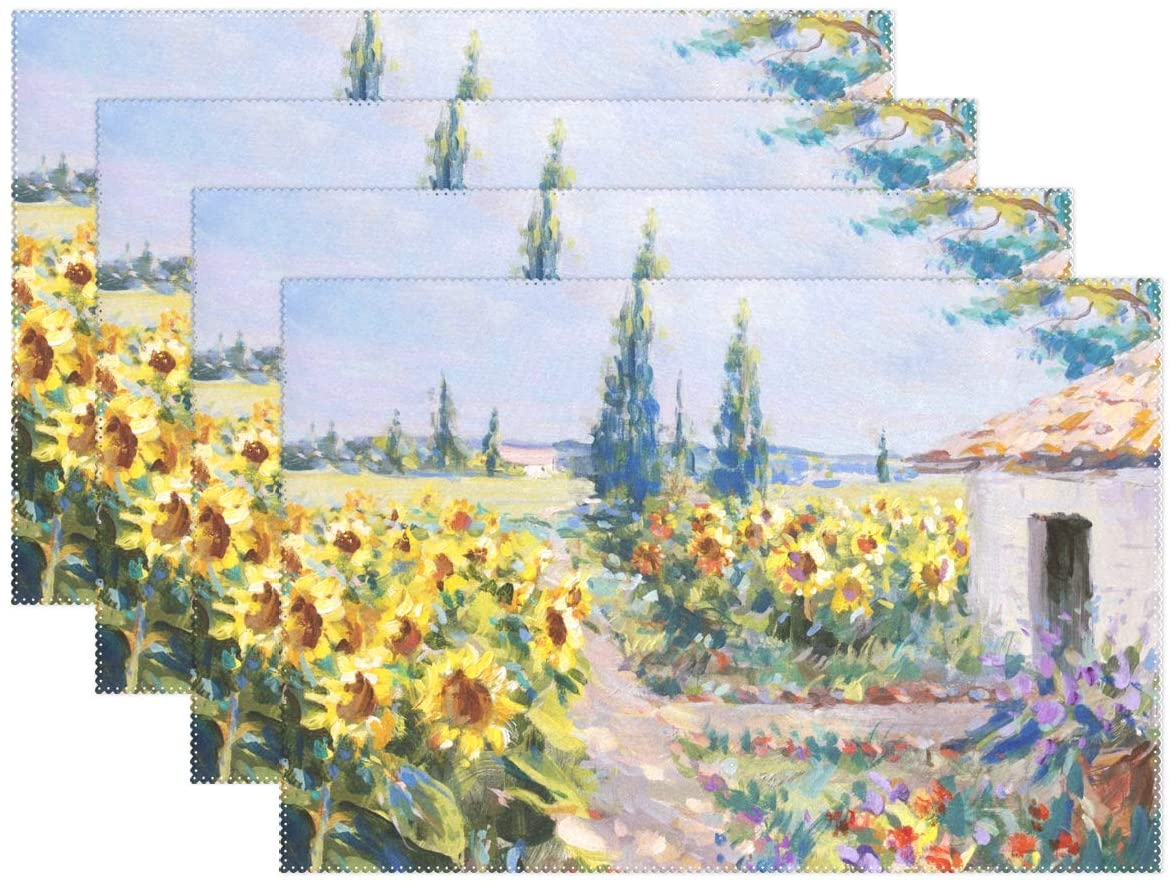 Placemats Sunflower Summer Landscape Heat Stain Resistant Non-Slip Place Mats for Kitchen Dining Table 12 x 18 Inch 4 Pc