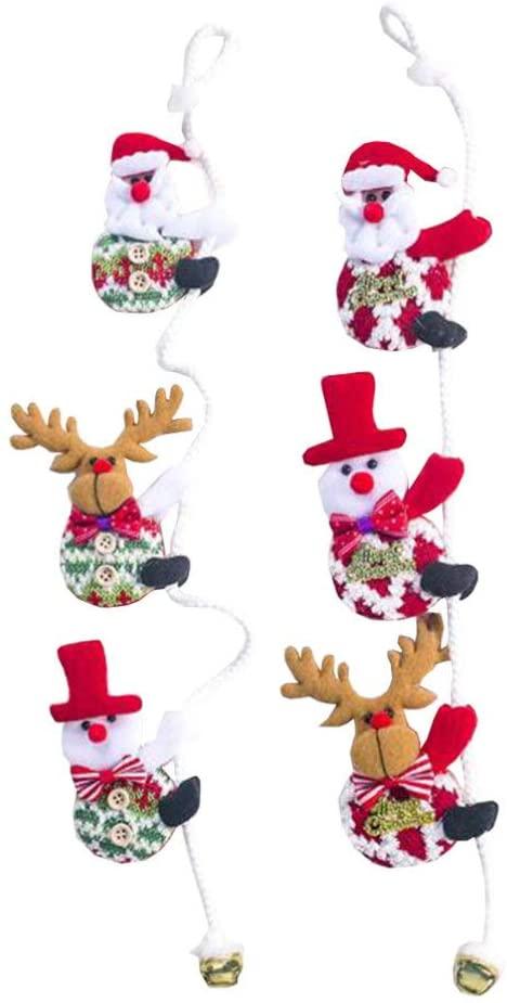 Amosfun 52Pcs Christmas Climbing Dolls Christmas Tree Decoration Santa Claus Doll Pendant Cloth Drop Ornaments Decorative Rope for Home Party Tree
