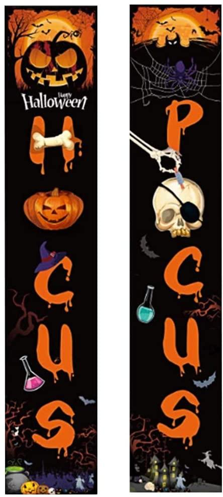 NUOBESTY 1 Pair Halloween Banner, Hocus Pocus Porch Sign, Halloween Decorations Outdoor Indoor, Halloween Porch Sign Banners for Halloween Party Yard Wall Office Living Room Classroom