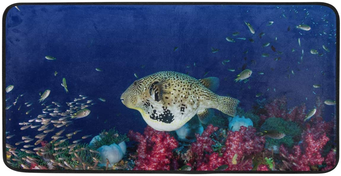 Ollabaky Cute Pufferfish Kitchen Floor Rugs Mats Comfort Standing Mat Washable Soft Cushioned Mat for Indoor Outdoor Home Office Use, 39 x 20 Inch