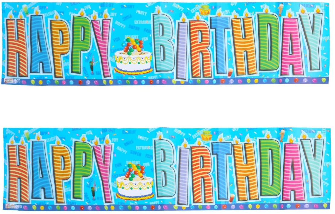 2pcs HAPPY BIRTHDAY Paper Banners Flags English Alphabet Garland Decor for Baby Birthday Decoration (Cake 1713)