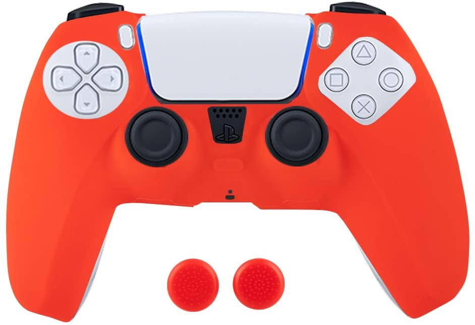 Silicone Controller Skin Cover, Anti-Slip Protector Case for Sony PS5 Playstation 5 Controller with 2 Joystick Caps (Red)