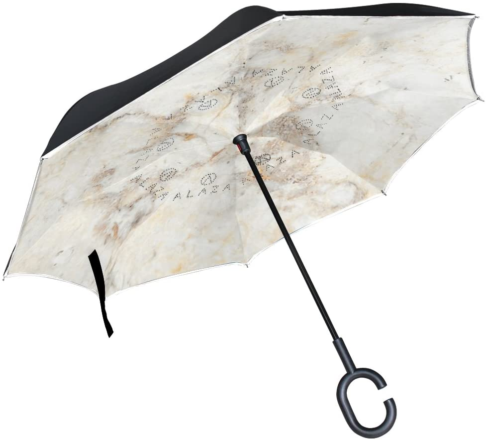 OREZI Double Layer Inverted Umbrella Reverse Umbrella,Windproof UV Protection Big Straight Umbrella Inside Out Travel Umbrella for Rain Outdoor with C-Shaped Handle,Marble Umbrella