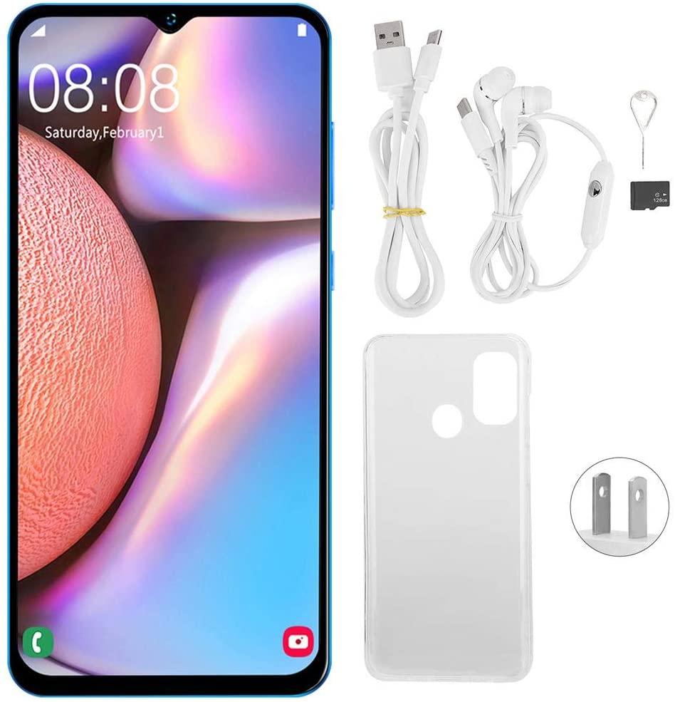 3G Unlock Mobile Phone, 6.5'' 14403040 Drop Screen Smartphone, 2GB + 32GB +128GB WiFi Touch Screen Smartphone Mobile Phone Dual SIM Smart Face Recognition Fingerprint Unlock Cellphone(US)