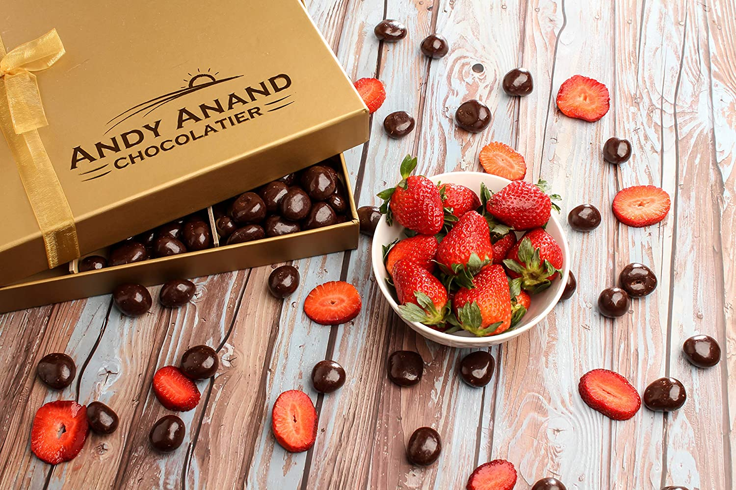 Andy Anand's Chocolates - Premium California Farm Strawberries covered with Rich Dark Chocolate Corporate Gifts, All Natural Certified made from Natural Ingredients- 1 LBS