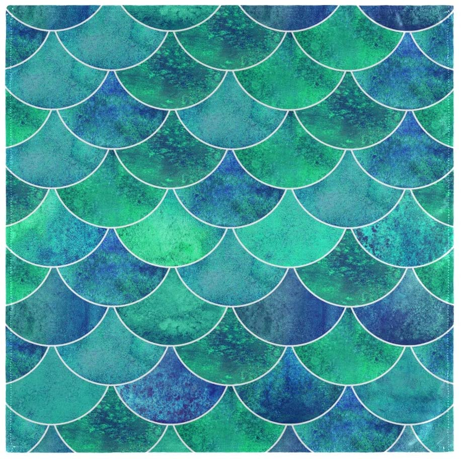 Aflyko Mermaid Scales Cloth Dinner Napkins Everyday Use 20