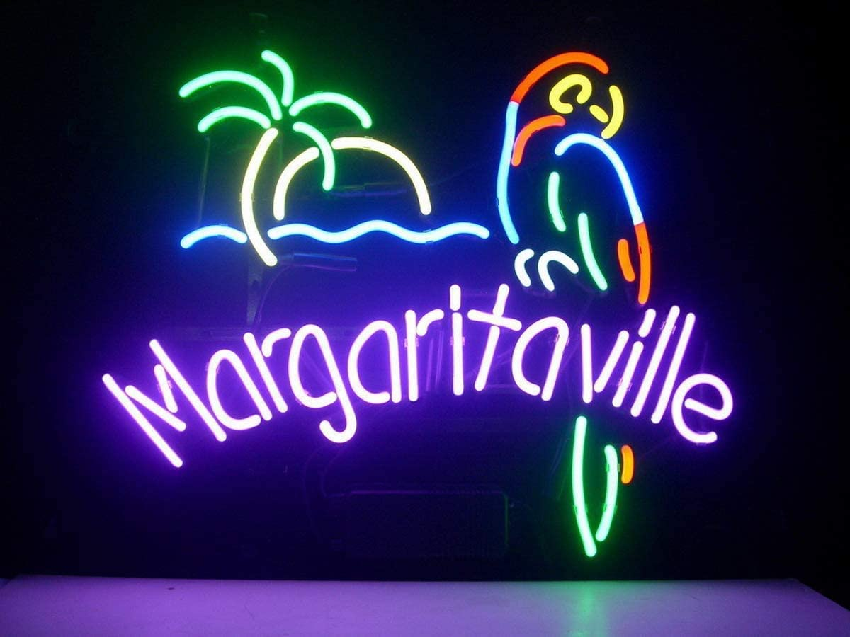 INXX NEON Paradise Parrot Palm Tree Neon Signs Home Beer Bar Pub Recreation Room Game Lights Windows Glass Wall Party Birthday Bedroom Bedside Table Decoration Gifts (Not LED) (M10)