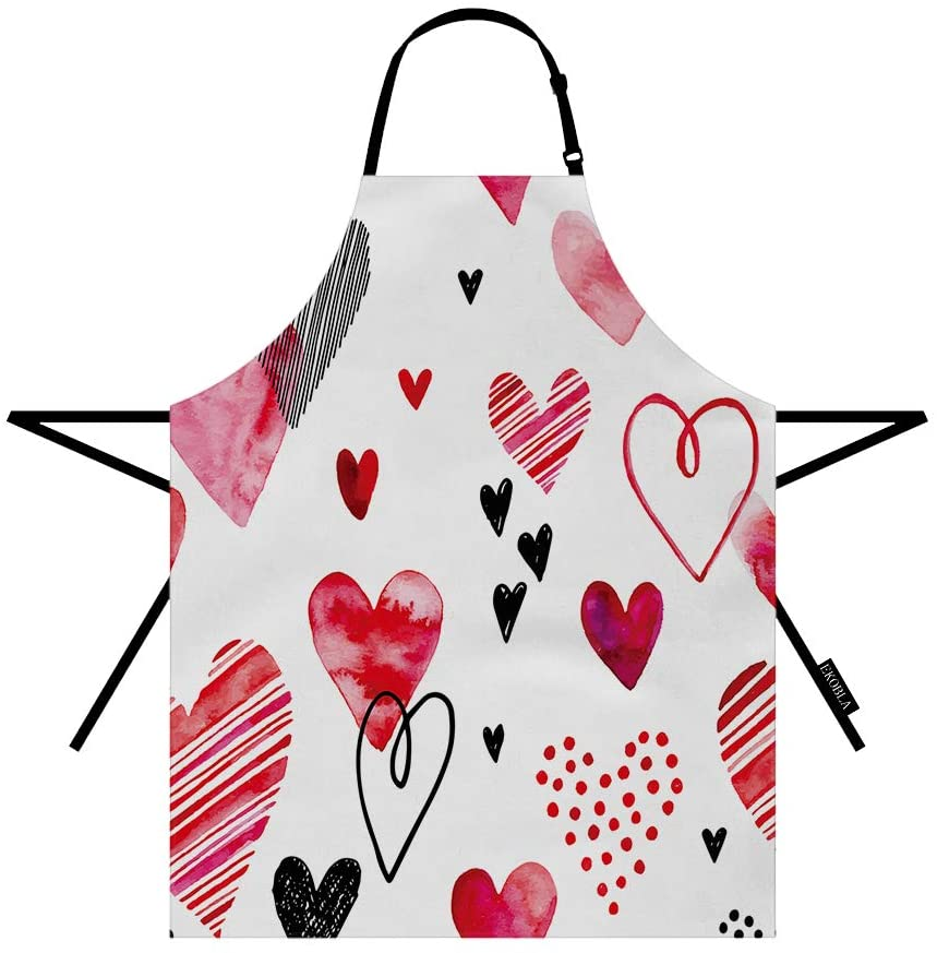 EKOBLA Hearts Pattern Apron Hand-Drawn Doodle Adorable Creative Artwork Red Black Pink Fashion Adjustable Bib Apron for Cooking Kitchen Home Baking Painting Restaurant Polyester 27x31 Inch