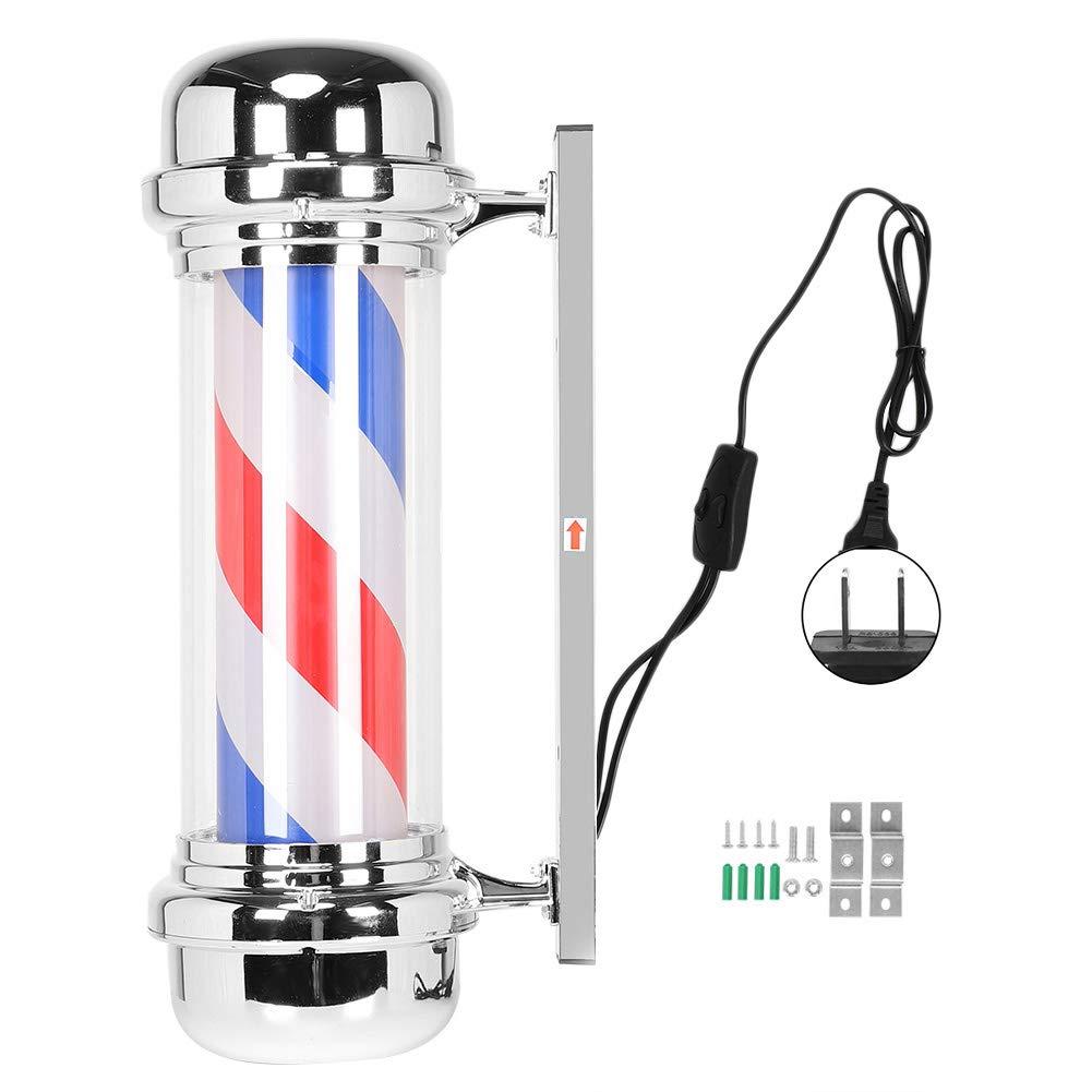 Barber Shop Illuminated Sign, Barber Shop Pole, Red White Blue Rotating Light Stripe Sign Hair Salon Outdoor Led Lamp Hairdressing Pole (71cm/28.0inch)(US)