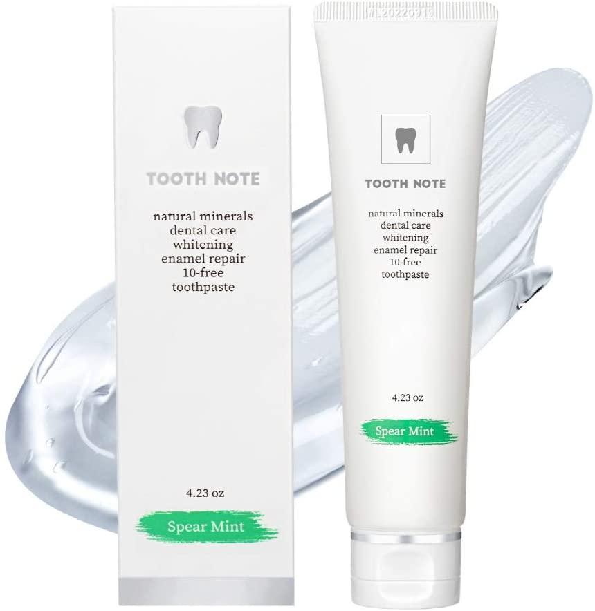 TOOTHNOTE Premium Natural Whitening Toothpaste(SPEAR MINT), Teeth Whitening Toothpaste, EWG Green Grade Ingredients, Fluorine/Sugar/Paraben Free