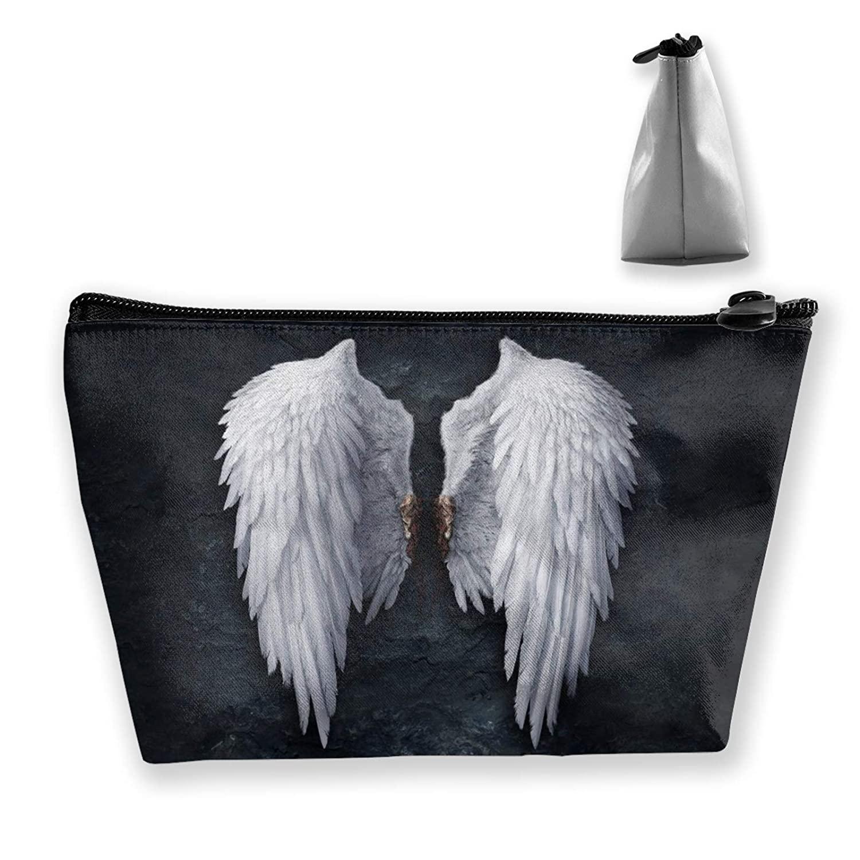 Women White Fling Wings Makeup Cosmetic Case Pouch Multipurpose Travel Makeup Train Case Premium Zipper