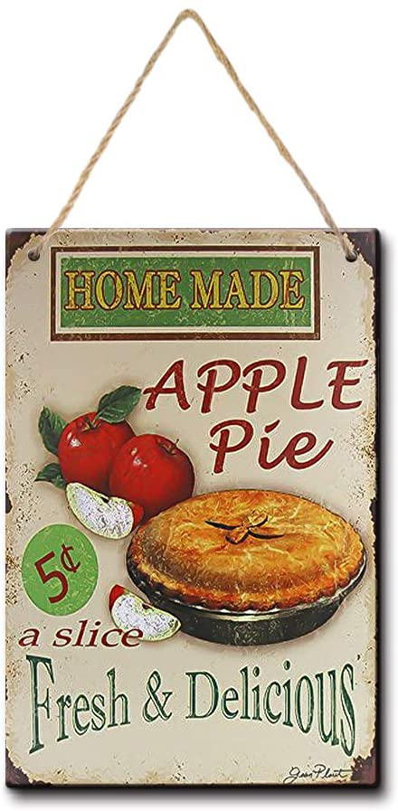 YILMEN Vintage Home Decoration Accessories Home Made Apple Pie Art 8x12.5 Inches Wall Decor (W3060)