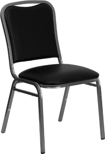 LIVING TRENDS 1 Pack Marvelius Stacking Banquet Chair in Black Vinyl - Silver Vein Frame