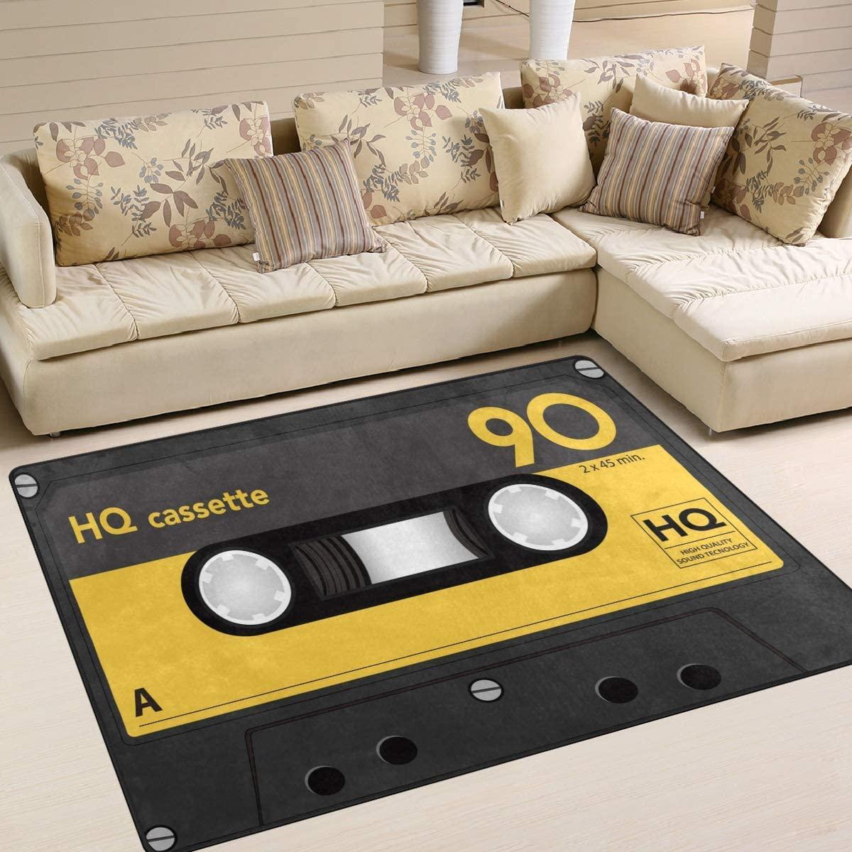 ALAZA Audio Cassette Tape Music Vintage Area Rug Rugs for Living Room Bedroom 5'3