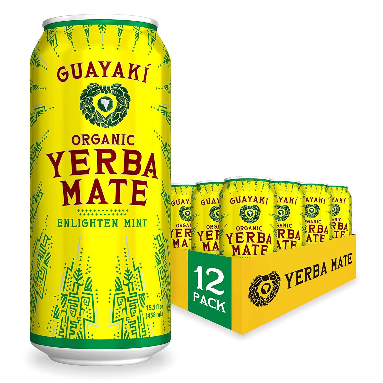 Guayaki Yerba Mate   Organic Alternative to Herbal Tea, Coffee and Energy Drink   Enlighten Mint   150 mg of Caffeine   15.5 Oz   Pack of 12
