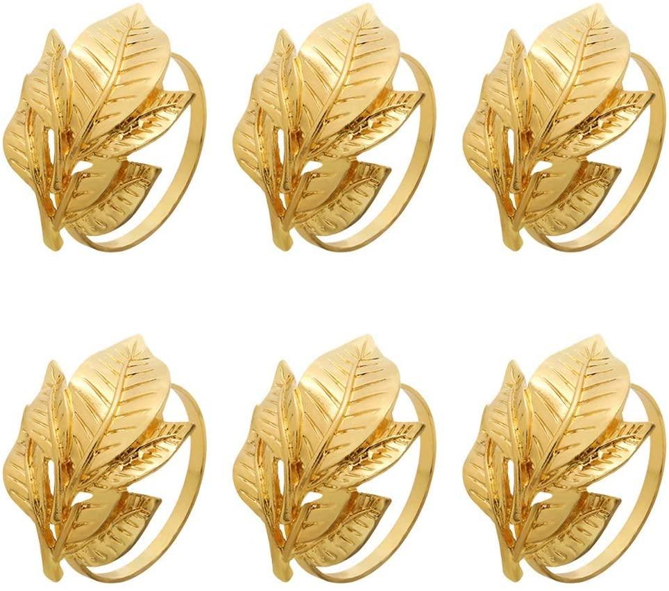 Lansel Napkin Rings Set of 6,Leaf Napkin Ring Holders,Harvest Fall Leaf Napkin Rings, for Vintage Christmas, Holidays, Wedding,Dinner Decor Favor (Gold)
