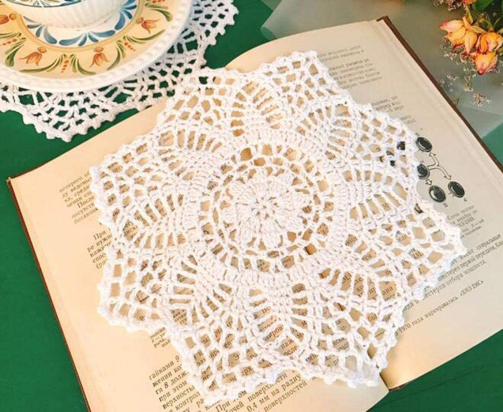 LUCACO Lace Doilies Paper - Round Decorative Paper Placemats Bulk for Cake, Wedding, Tableware Decoration - 10 Pieces,8-Inch, Beige