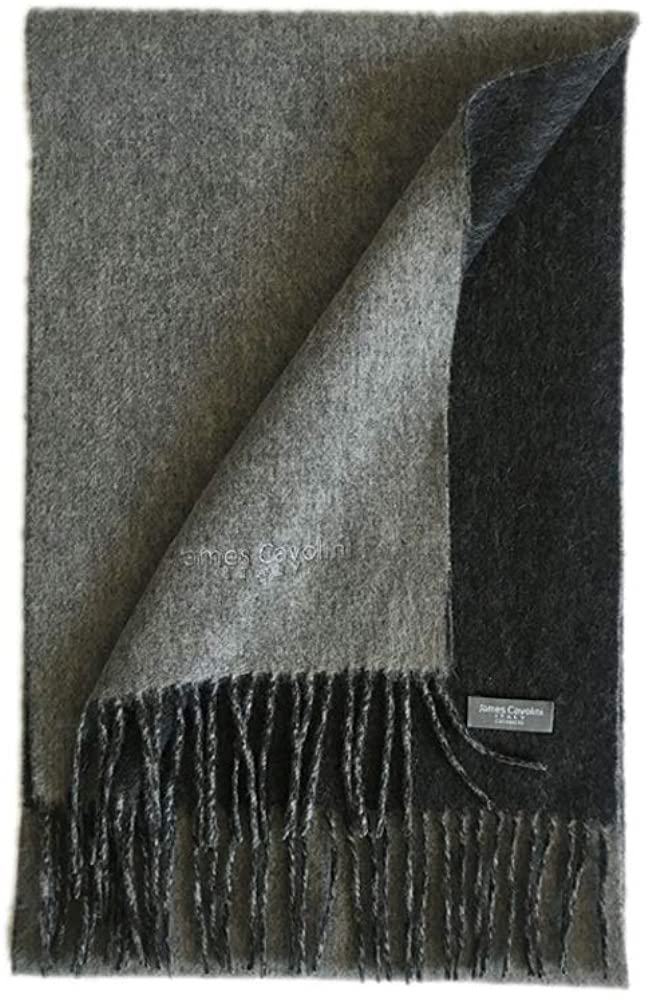 James Cavolini Italy Mens Cashmere Wool Double-Sided Grey/Charcoal Scarf