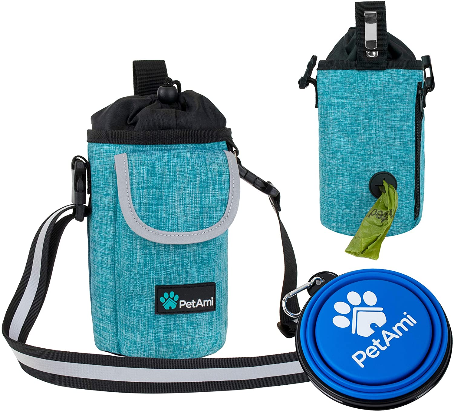 PetAmi Dog Treat Pouch with Large Front Pocket | Dog Training Pouch Bag with Waist Shoulder Strap, Poop Bag Dispenser, Collapsible Bowl | Training Bag for Kibbles, Pet Toys | 3 Ways to Wear