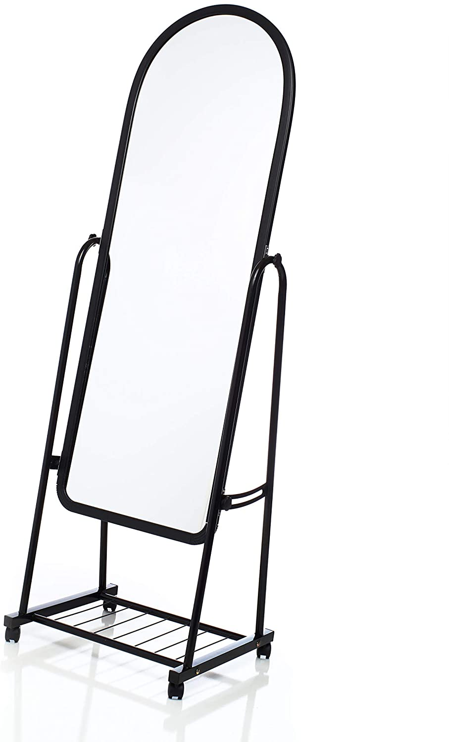 Full Length Standing Mirror on Wheels by OMISHOME - Stand Up Mirror with Metal Frame - Tiltable Mirror on Rollers