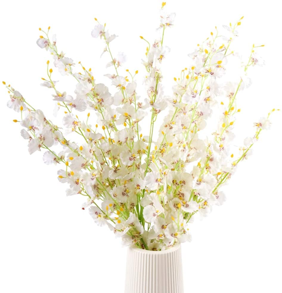 U/N Artificial Orchids Flowers 12 PCS Real Touch Silk Dancing Lady Orchids Fake Butterfly Orchids Flowers in Bulk for Wedding Home Office Decoration (White)
