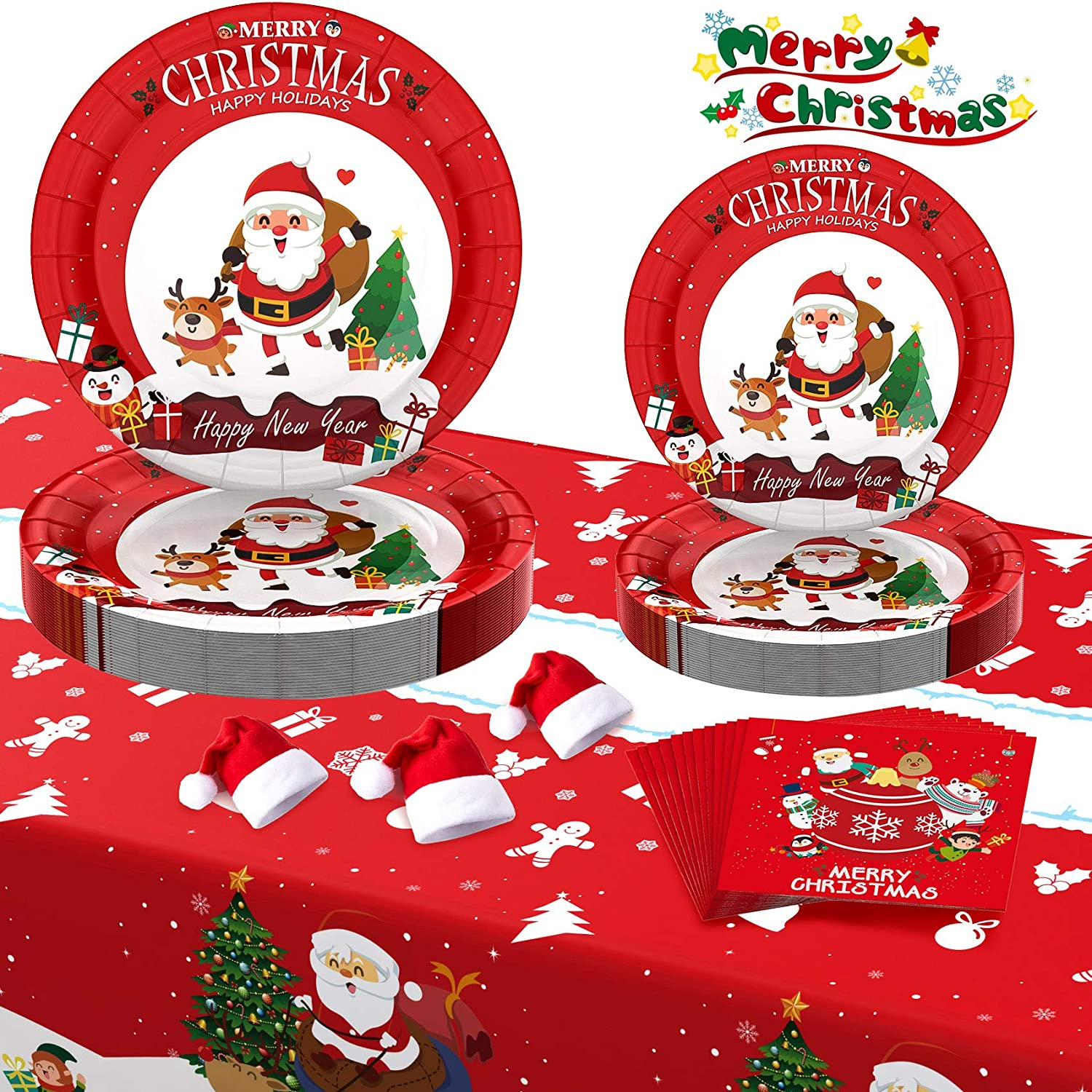 30 Red Christmas Paper Plates | Santa Paper Plates - 30 9'' Dinner Plates 30 7'' Dessert Plates 30 Napkins 1 Table Cover and 30 Mini Christmas wine bottle Hats for Holiday Party Disposable Dinnerware Set