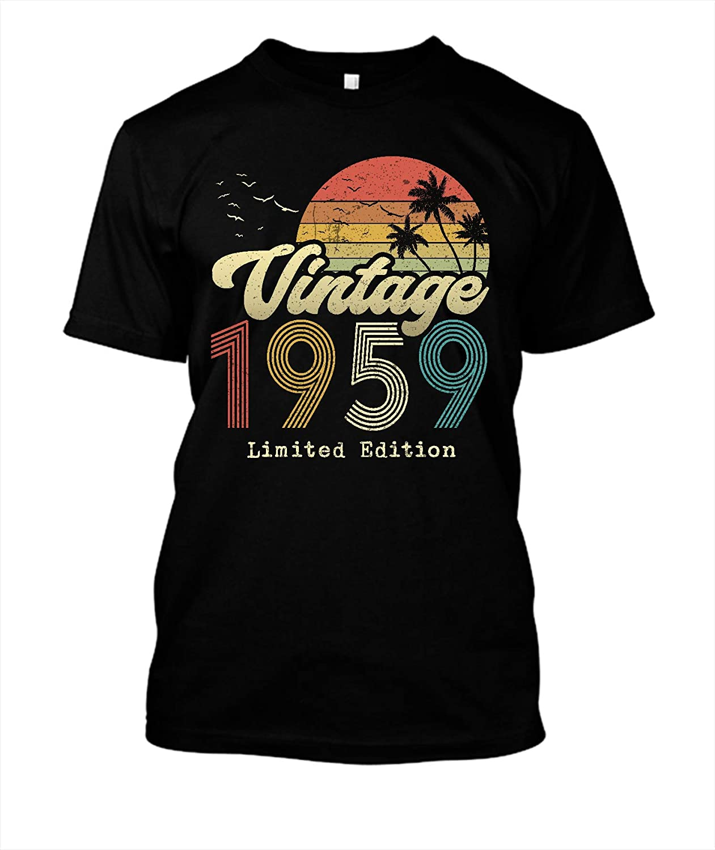 Vintage 1959 Birthday Shirts Birthday Shirts for Women Men Its My Birthday Shirt Black