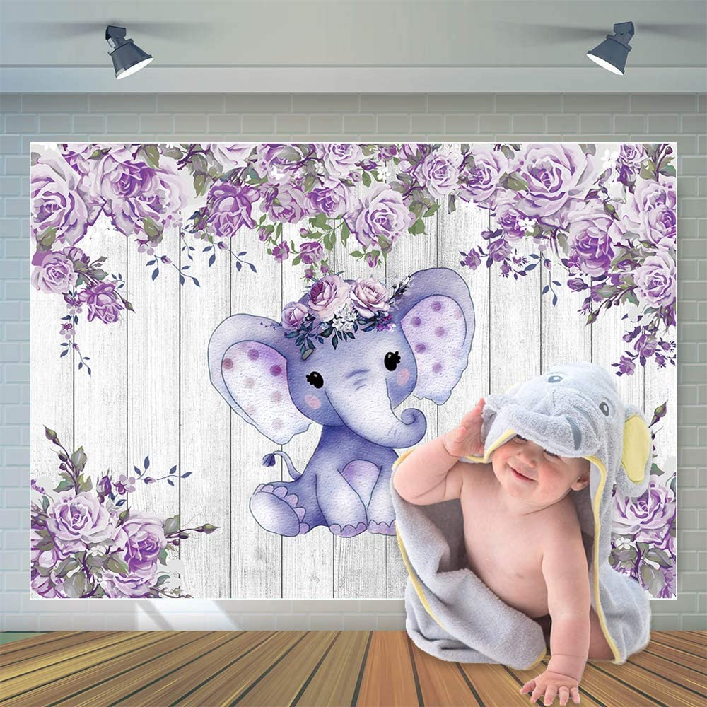 CYLYH 7X5ft Elephant Theme Backdrop Rustic Wood Elephant Backdrop Baby Shower Party Purple Flower Banner Girl Boy Newborn Kids Birthday Cake Table Decoration Banner D511
