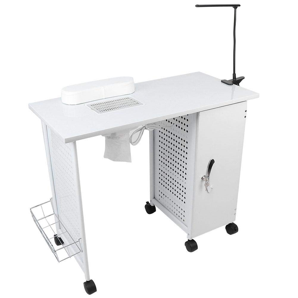 Manicure Table With Vacuum Cleaner, Nail Art Salon Spa Desk with LED Lamp, Storage Rack & Wheels - White 110V