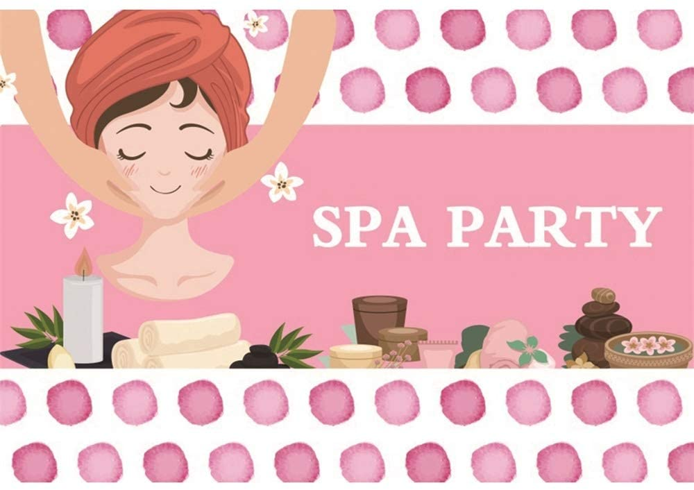 Haoyiyi 7x5ft Make Up Spa Party Theme Backdrop Sweet Pink Spa Day Beauty Queen Makeover Background Photography Photo Kids Baby Shower Glamour Birthday Party Photo Booth Video Shoot Studio Props