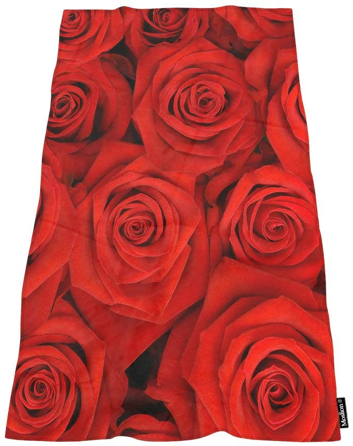 Moslion Comfy Bath Towels Beautiful Red Rose Soft Bathing/Beach/Camping Towel for Women Men Girls Boys Large Size 64x32 Inches