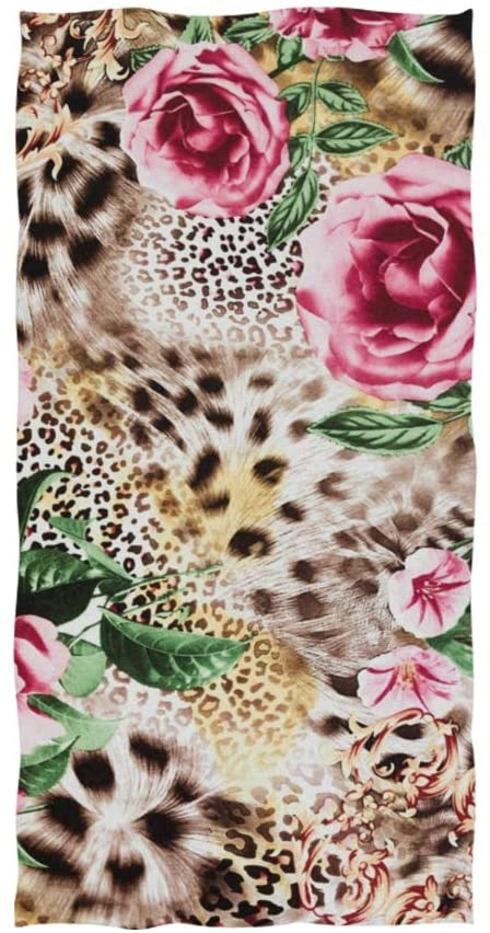 linomo Hand Towel Leopard Print Floral Rose Towel Cotton Face Towel Dish Towel for Kids Girls Boys Adult
