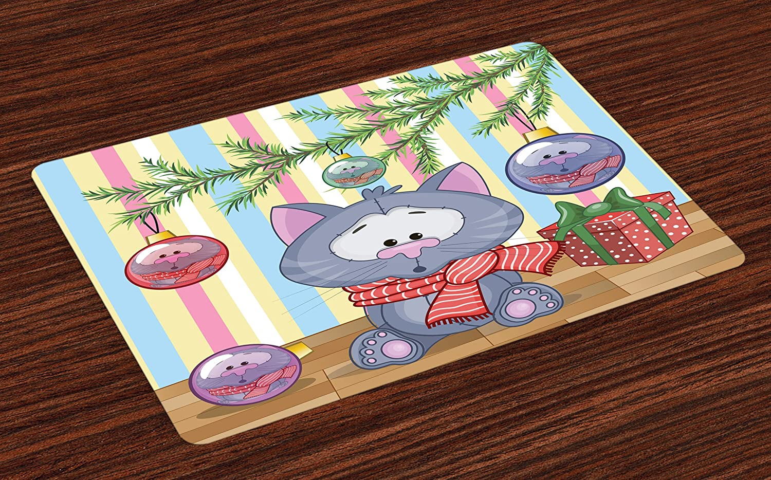 Ambesonne Christmas Place Mats Set of 4, Kitten with Scarf Under The Tree with Ball Celebration and Gift Box Cat Themed, Washable Fabric Placemats for Dining Room Kitchen Table Decor, Multicolor