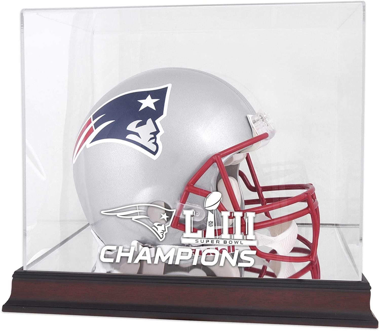 New England Patriots Super Bowl LIII Champions Mahogany Helmet Logo Display Case - Football Helmet Logo Display Cases