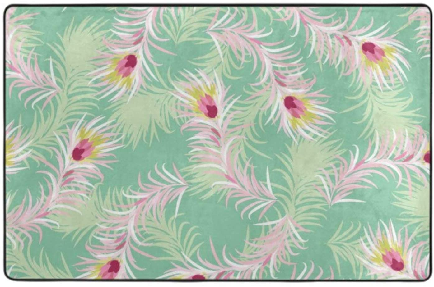 Living Room Floor Carpet Pink Peacock Feathers Mint Green Rug Warm Foot 60 x 39 for Indoor Living Dining Room and Bedroom Area