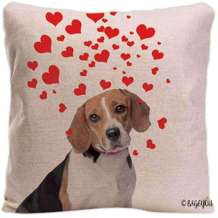 BAGEYOU Dog's Love to You Throw Pillow Cover Beagle Blowing Kisses Love Hearts Decor Home Cotton Linen Pet Pillow Case 18x18 Inch