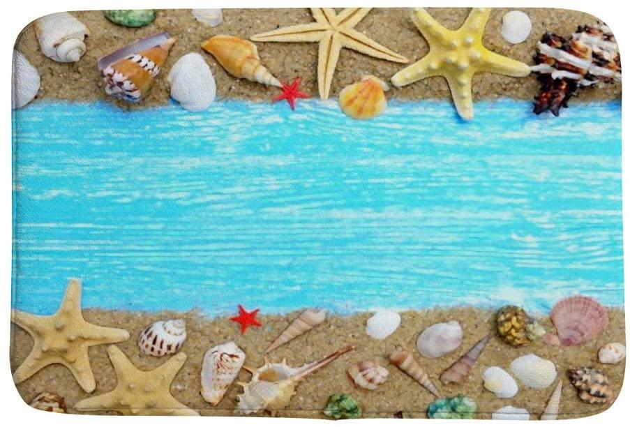 ZHIMI Bath Mat Seashells and Starfish On Blue Wooden Memory Foam Soft Absorbent Bath Rug Non-Slip Runner Mat Bathroom Decor Quickly Drying Comfort Floor Mat