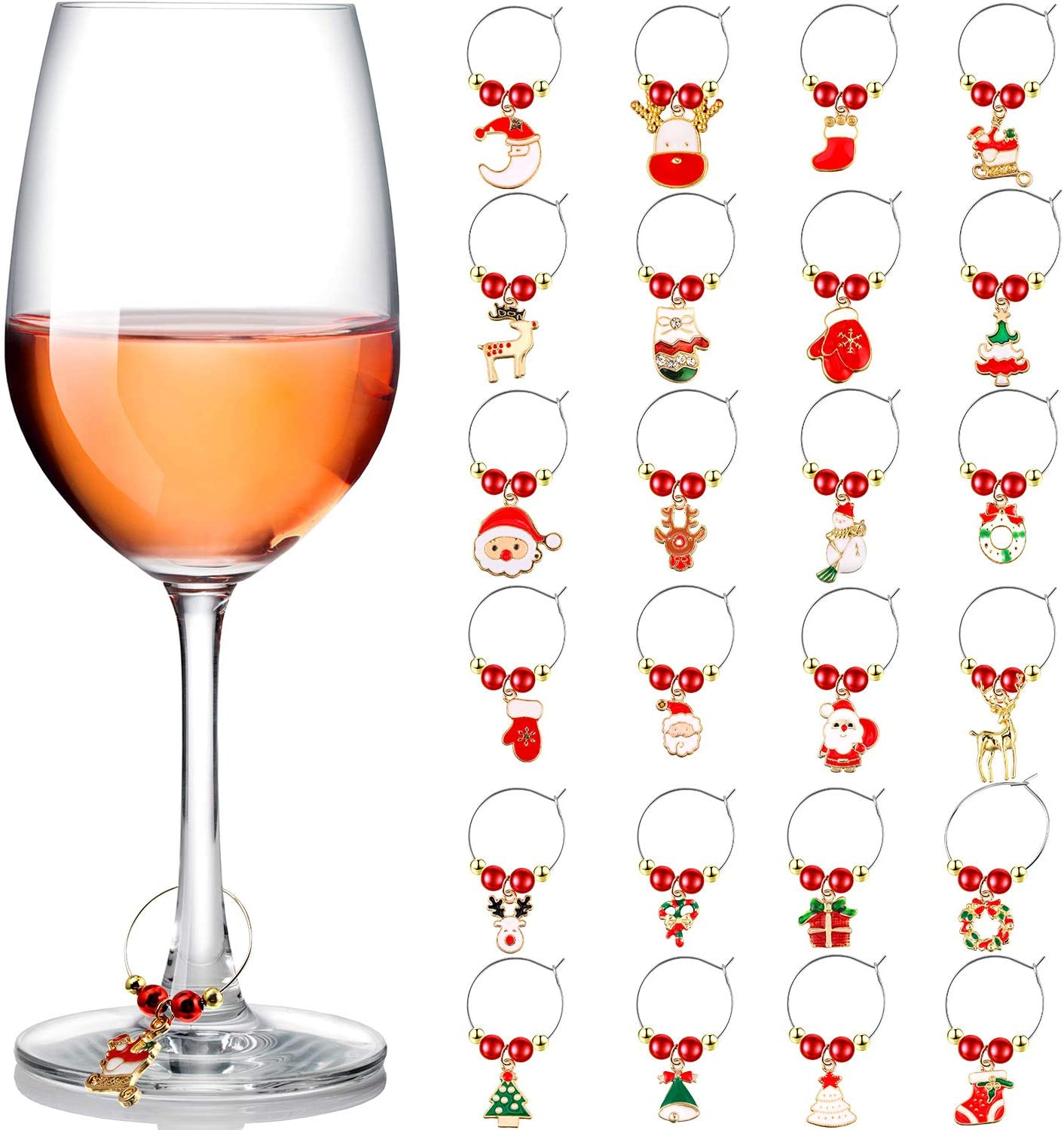 24 Pieces Christmas Themed Wine Glass Markers Drink Markers Wine Charm for Glass Champagne Flutes Cocktails, Martinis