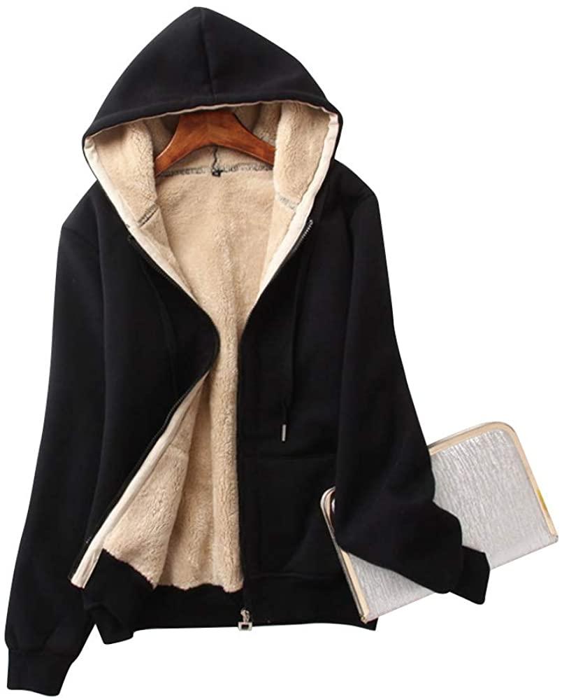 Moonetto Women's Casual Winter Thick Warm Fleece Sherpa Lined Hoodie Zip Up Jacket Coat Sweatshirt