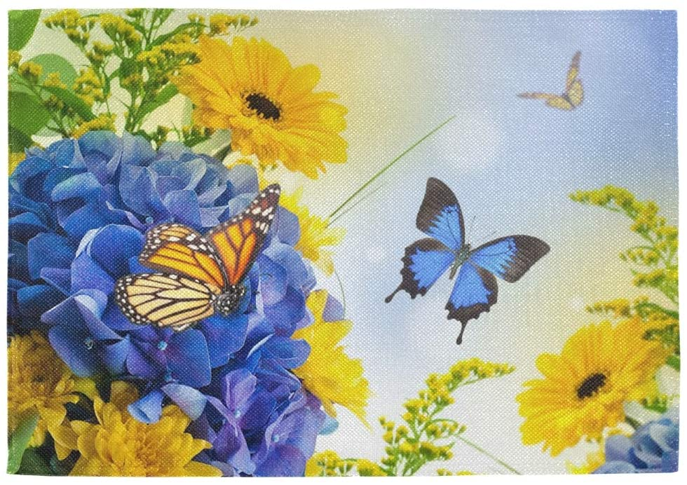 One Bear Sunflower Placemats Beautiful Flowers Floral Butterfly Placemat Table Mats Non Slip Heat Resistant Placemats for Dining Table Kitchen Holiday Party 1 Pcs