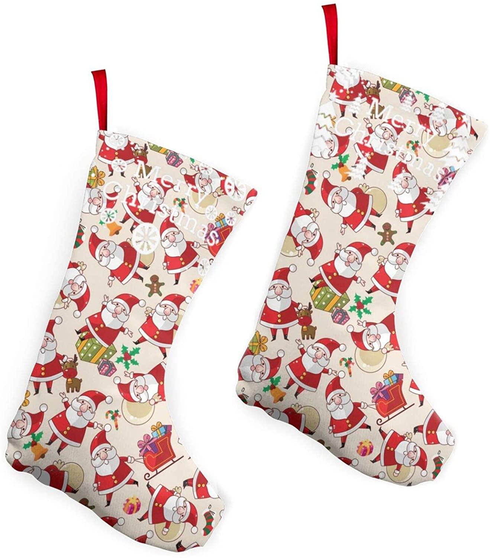EDFH Santa Claus Pattern Christmas Socks, Unisex Printed Colorful Festive Fancy Christmas Holiday Design Soft Crew Socks for Adult