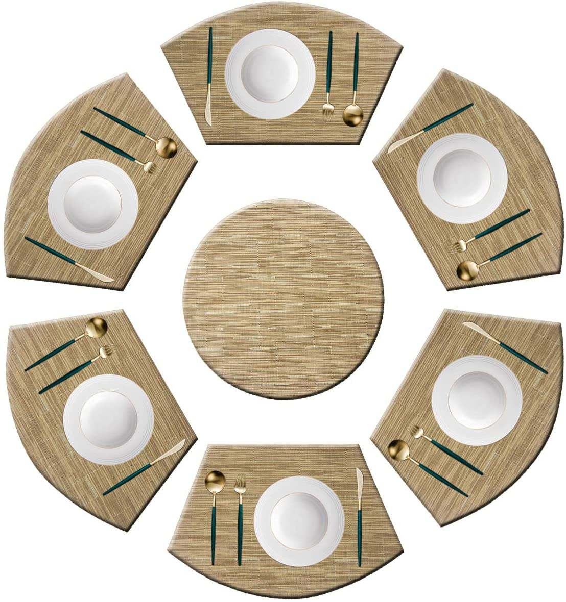 Panda Palm Placemat Wedge Shaped Set of 6 Placemats with a 14'' Round Placemats,Washable Vinyl Placemats Heat-Insulating Table Mats (Multi-Khaki)