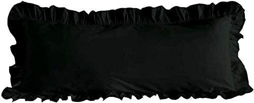 Aspire Homes 800 Thread Count Black Solid Body Edge Ruffle Pillow Sham 20